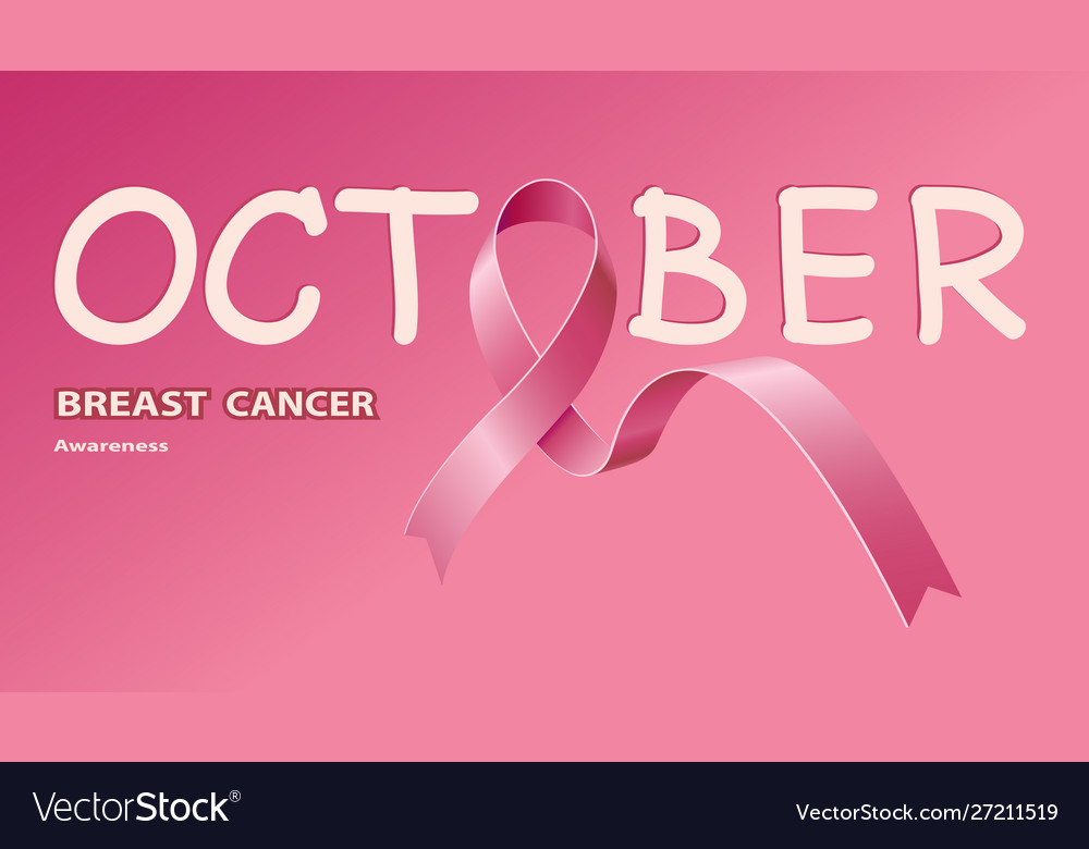 Icon pink ribbon for breast cancer awareness