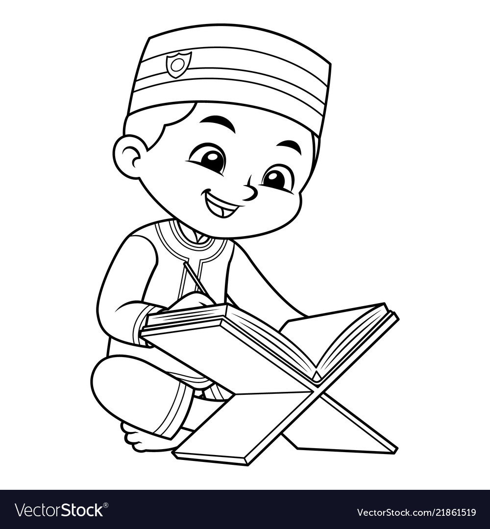 Moslem boy reading quran bw Royalty Free Vector Image