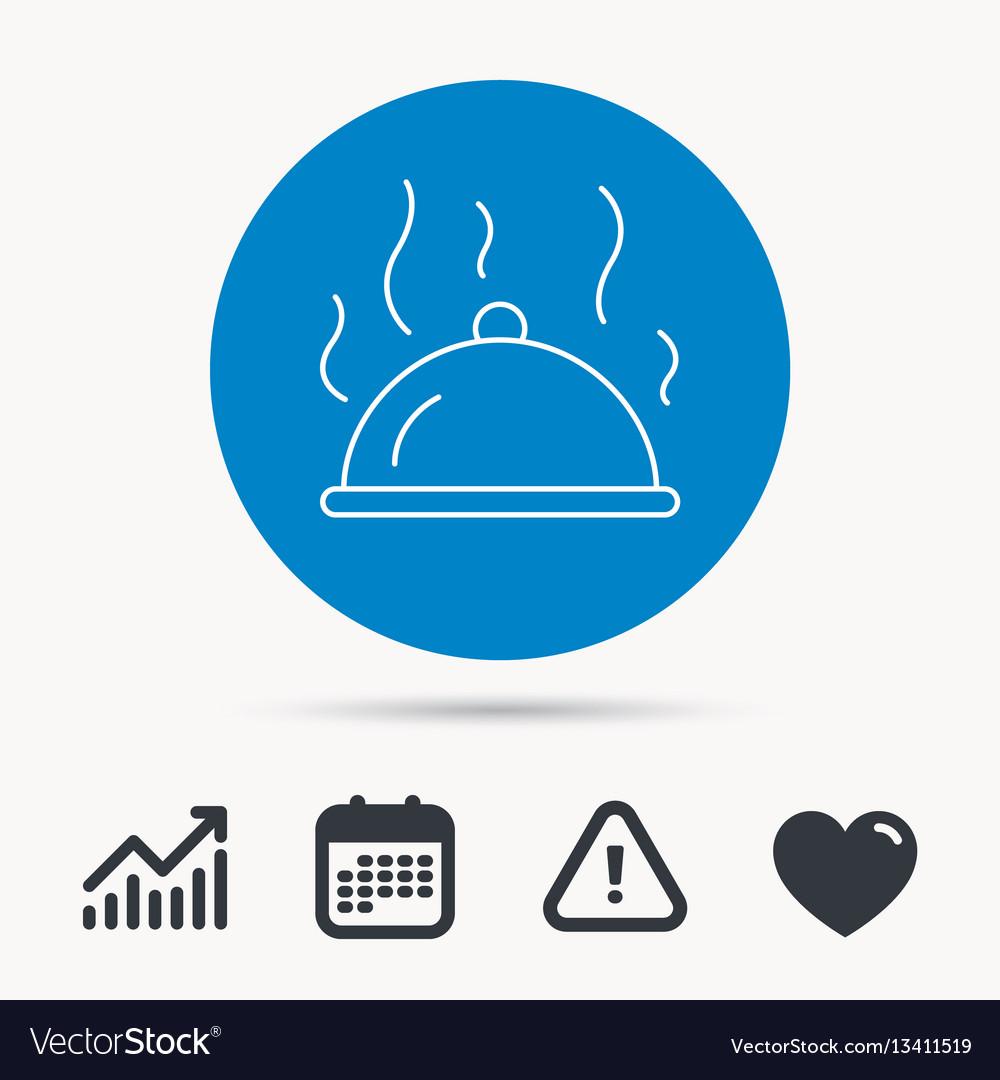 Restaurant cloche icon hot food sign