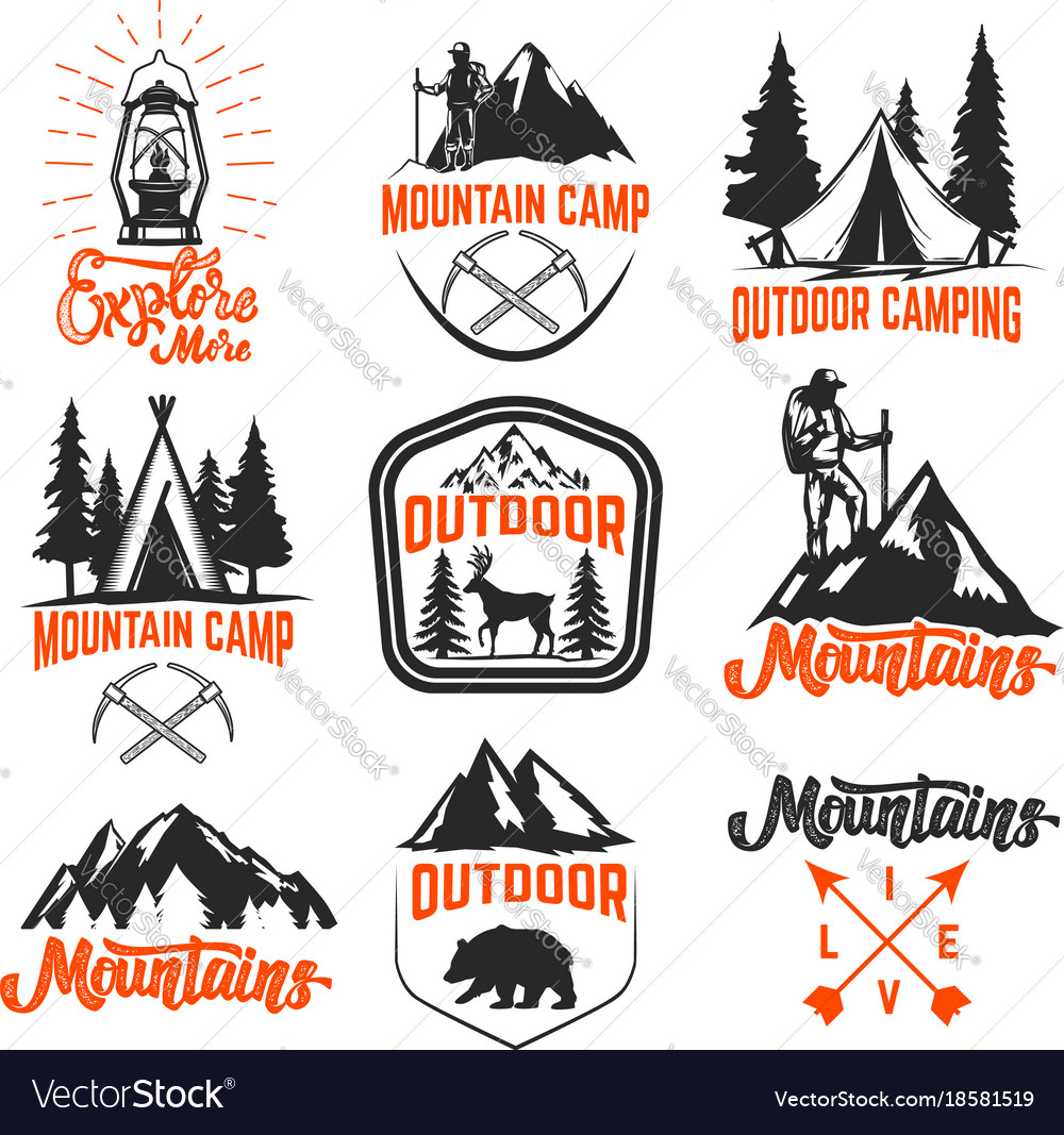Set mountain camp emblems outdoor tourism