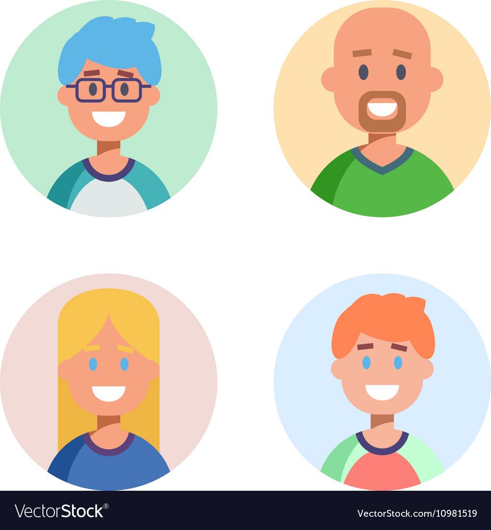 Set of flat design characters icons