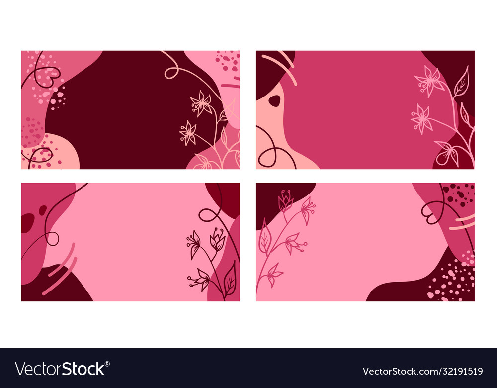Summer pink banners with hand drawn flowers