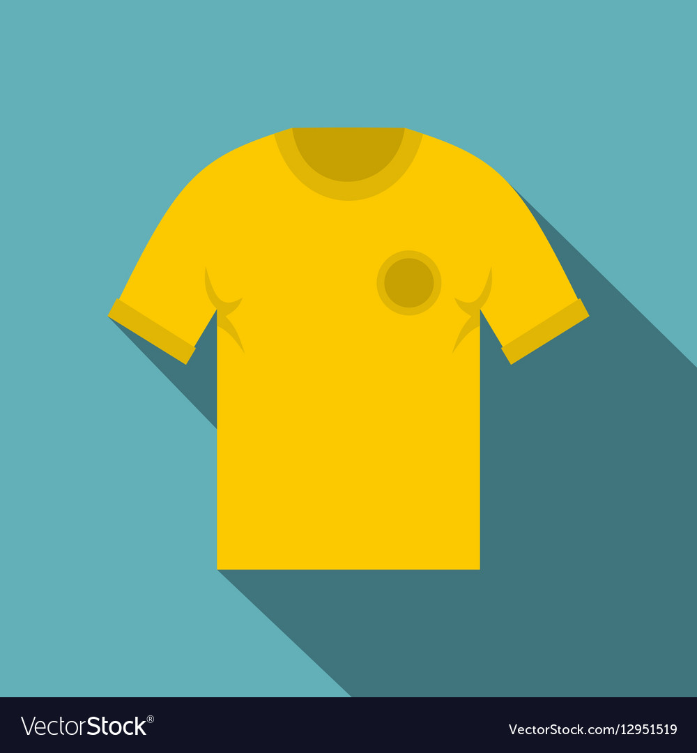 Yellow soccer shirt icon flat style vector image