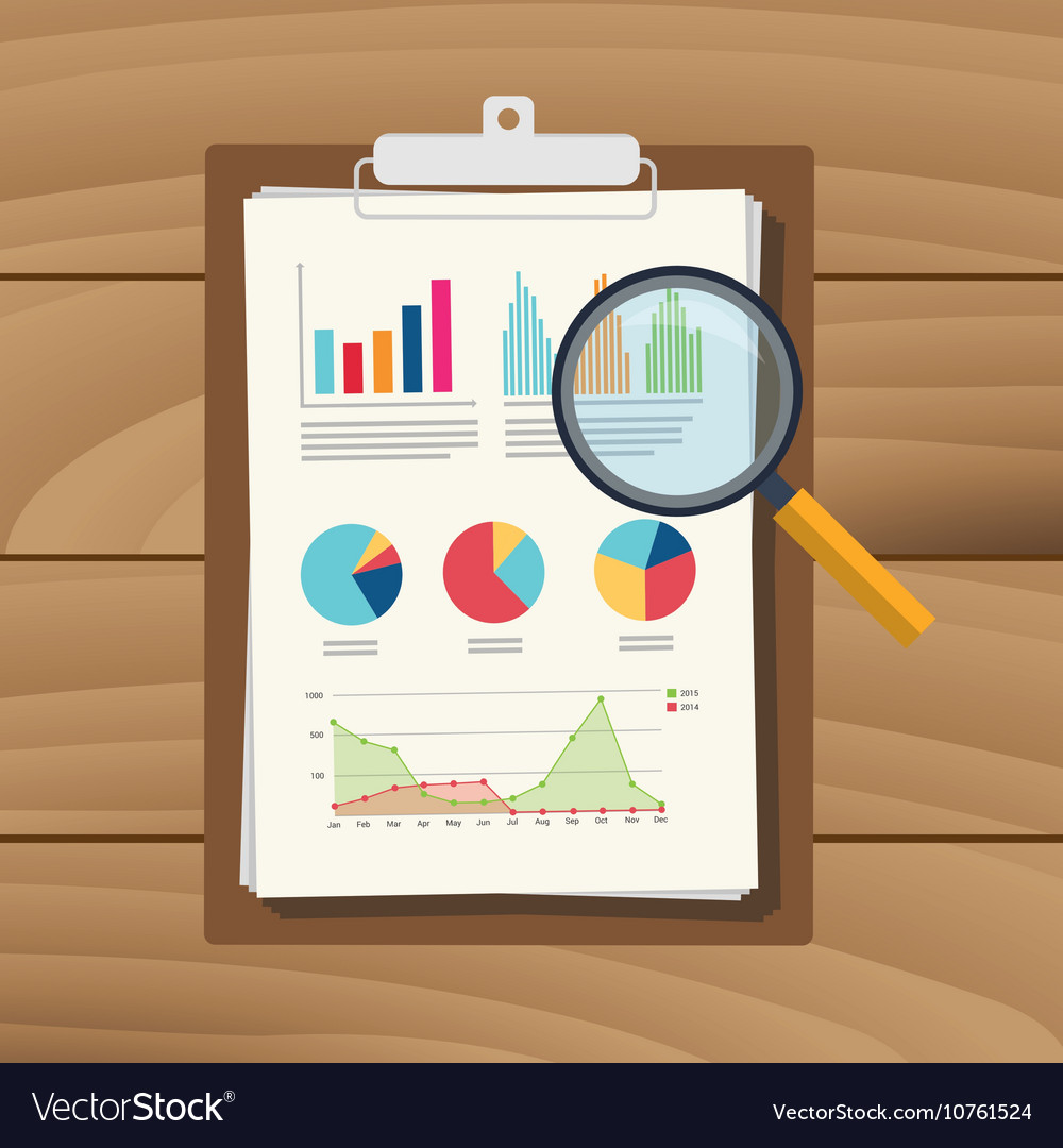 Audit graph data analysis result paper document Vector Image