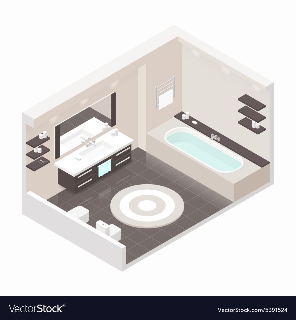 Bathroom isometric detailed set