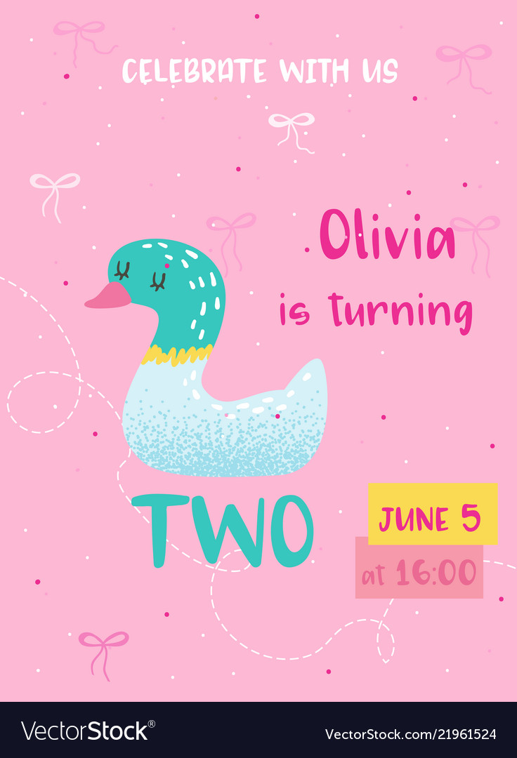 Birthday baby card with duck and number two