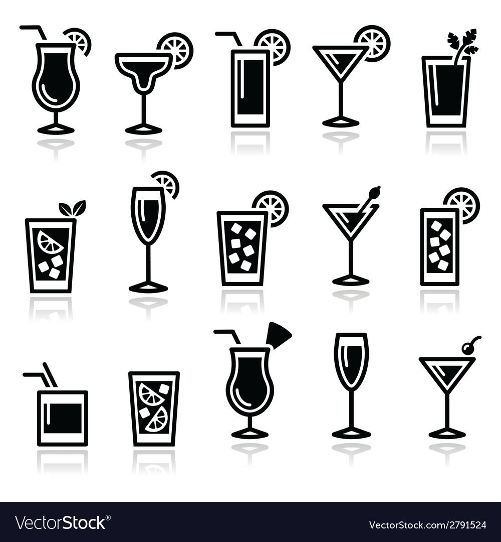 Cocktails drinks glasses icons set