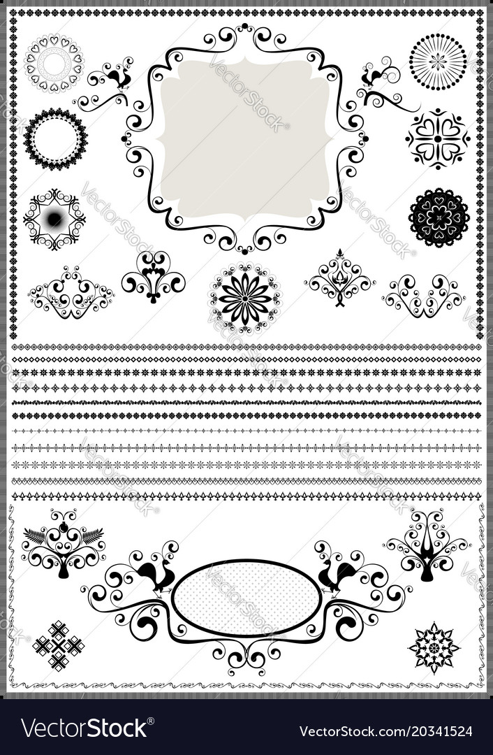 Collection luxury borders and circular ornaments