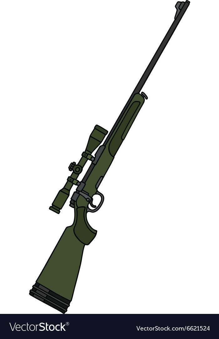Dark green rifle with a telescope