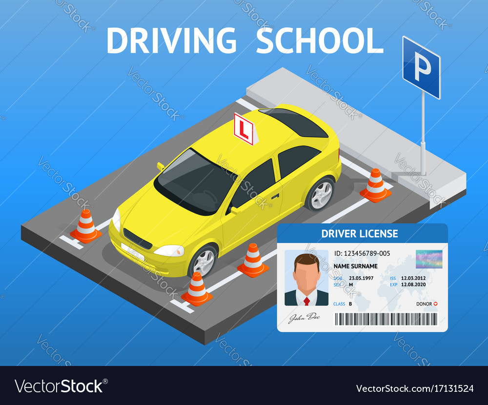 Design concept driving school or learning to drive