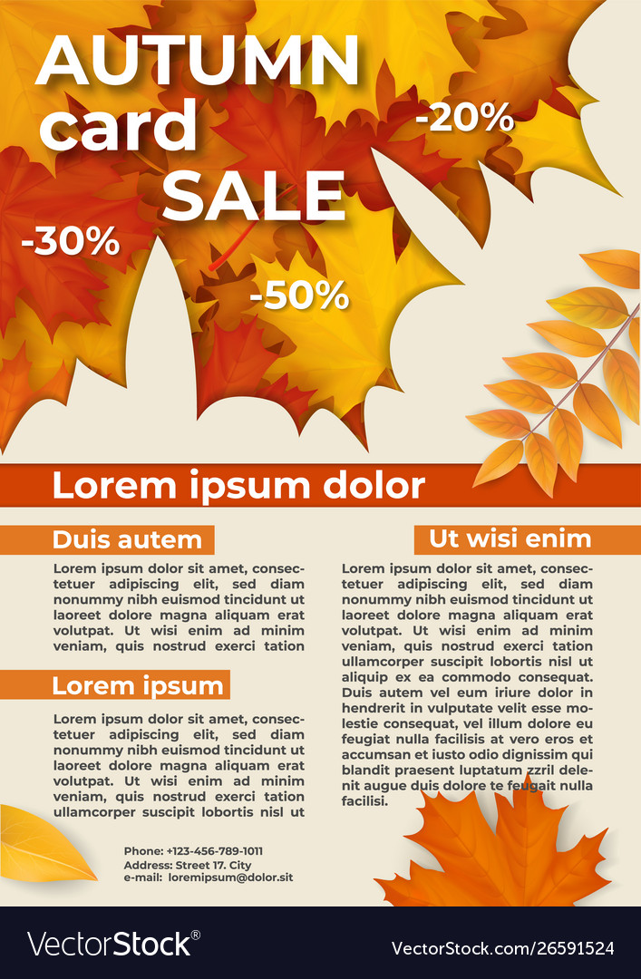 Flyer with autumn offer discounts
