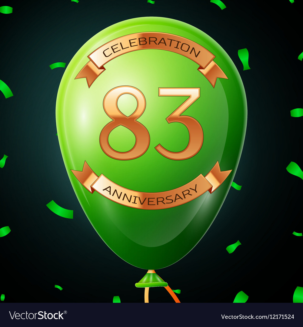 Green balloon with golden inscription eighty three vector image