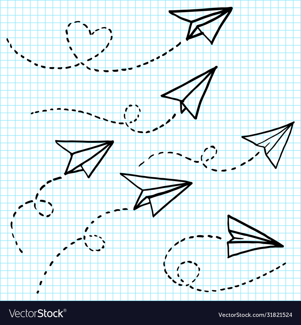 Hand drawn paper airplane doodle paper plane