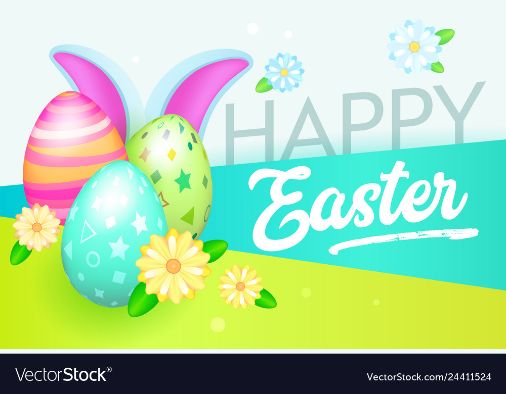 Happy easter banner with eggs and rabbit greeting