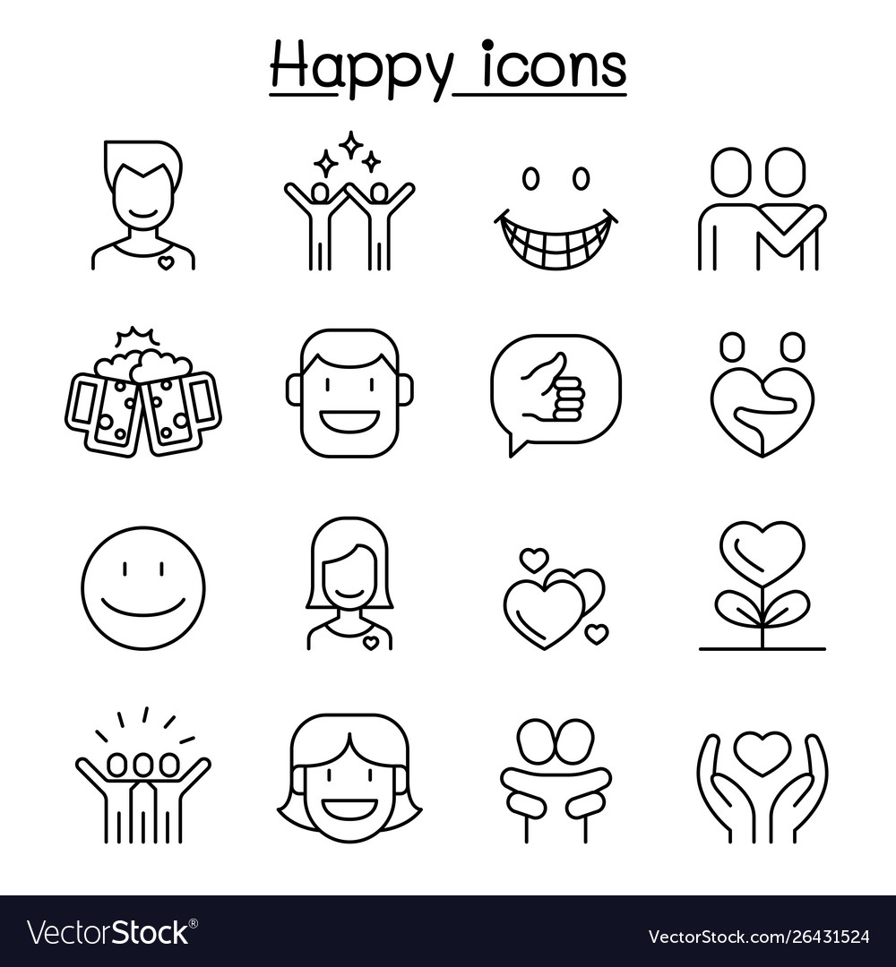 Happy icon set in thin line style