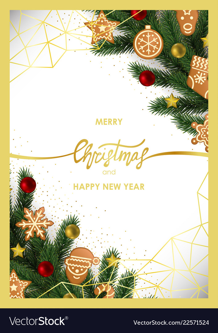Happy new year greeting card with fir