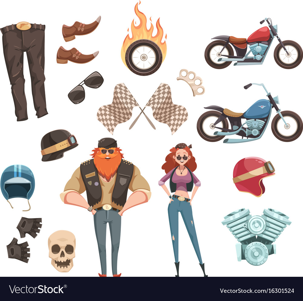 Motorcycle rider elements collection vector image