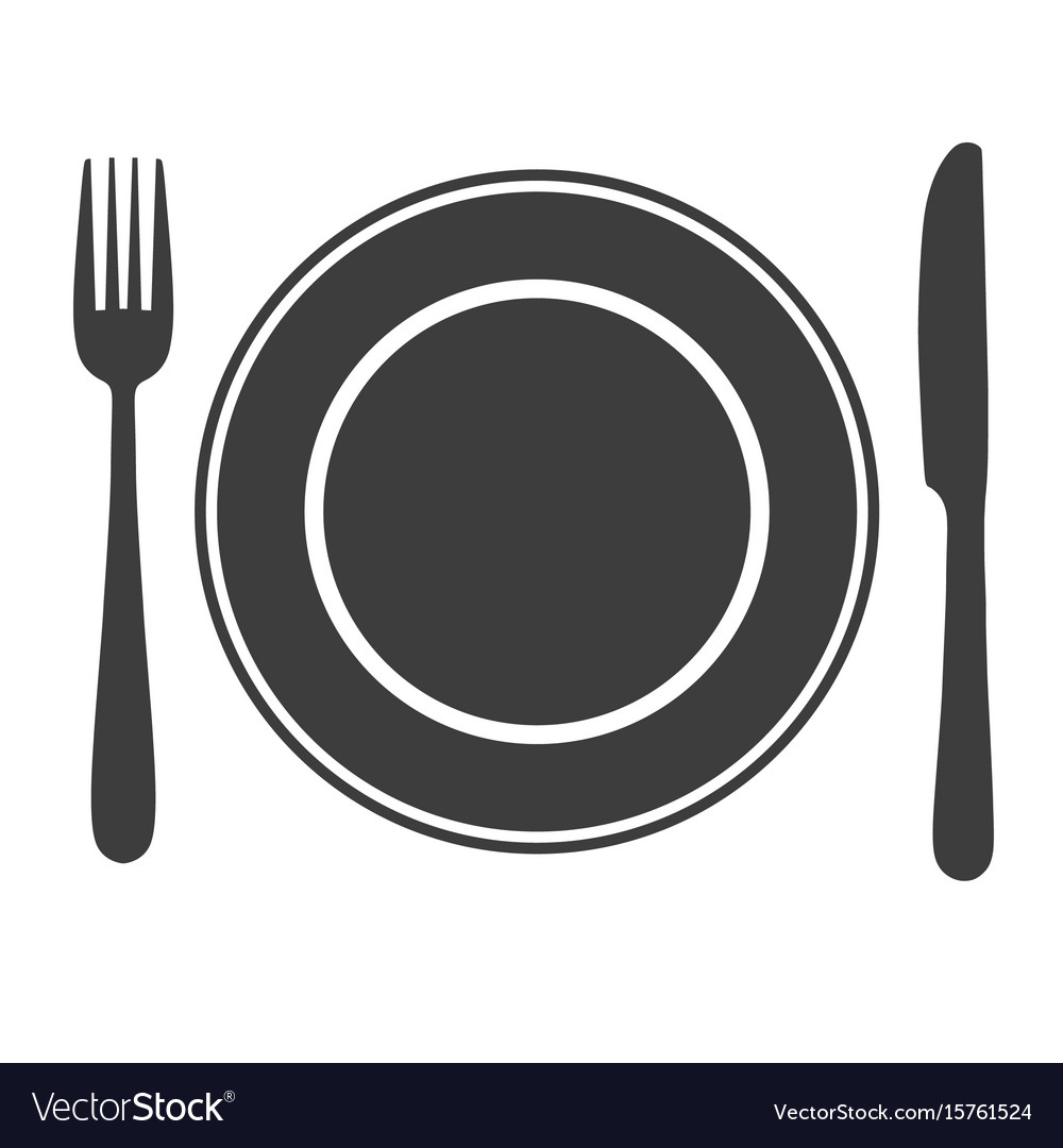 Plate with fork and knife icon laying the table