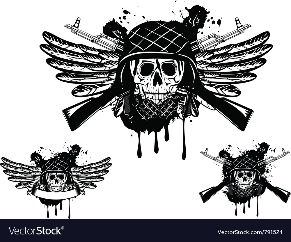 Skull in an army helmet