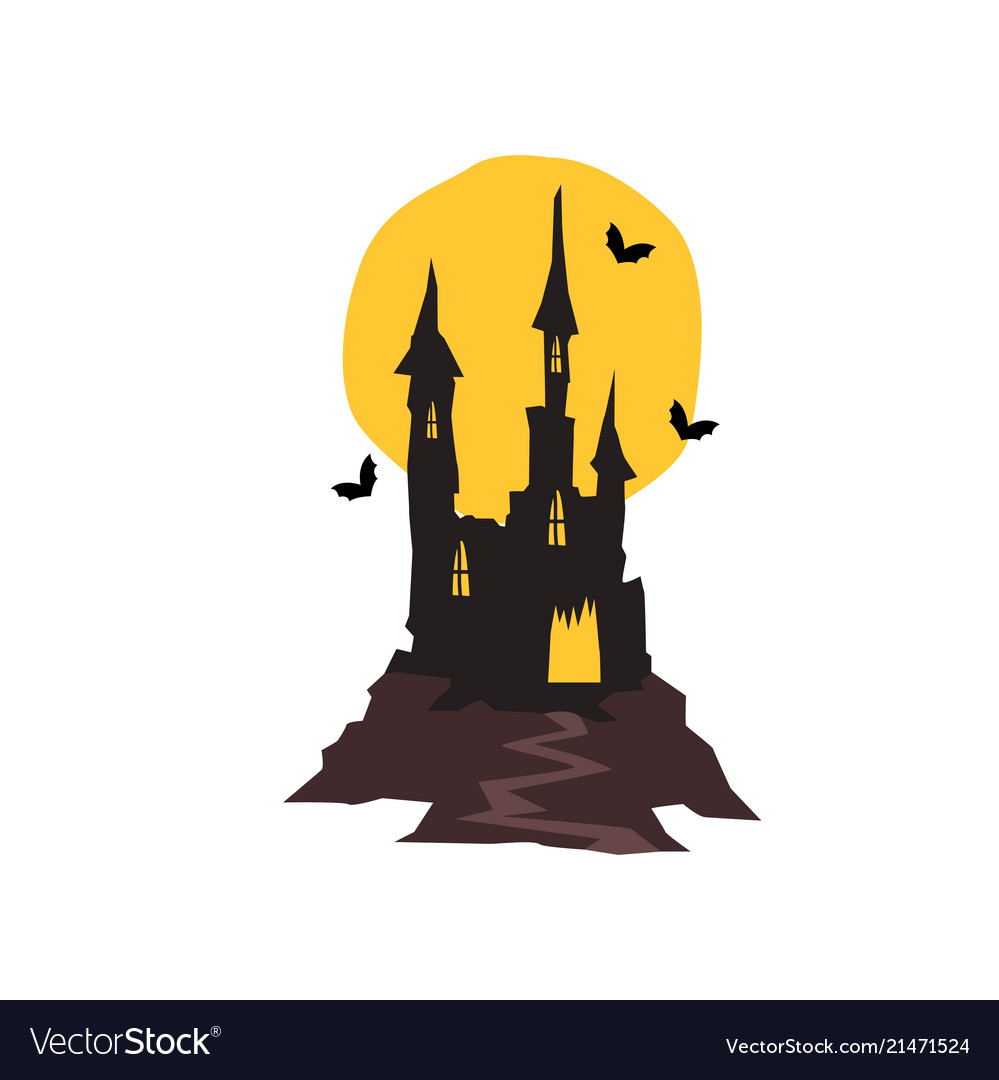 Spooky haunted castle with bats and full moon