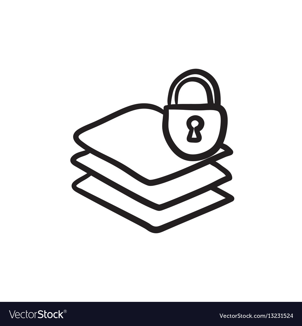 stack of papers with lock sketch icon royalty free vector