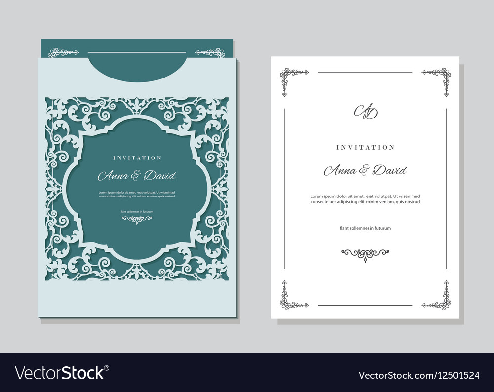 Wedding invitation card and envelope template Vector Image