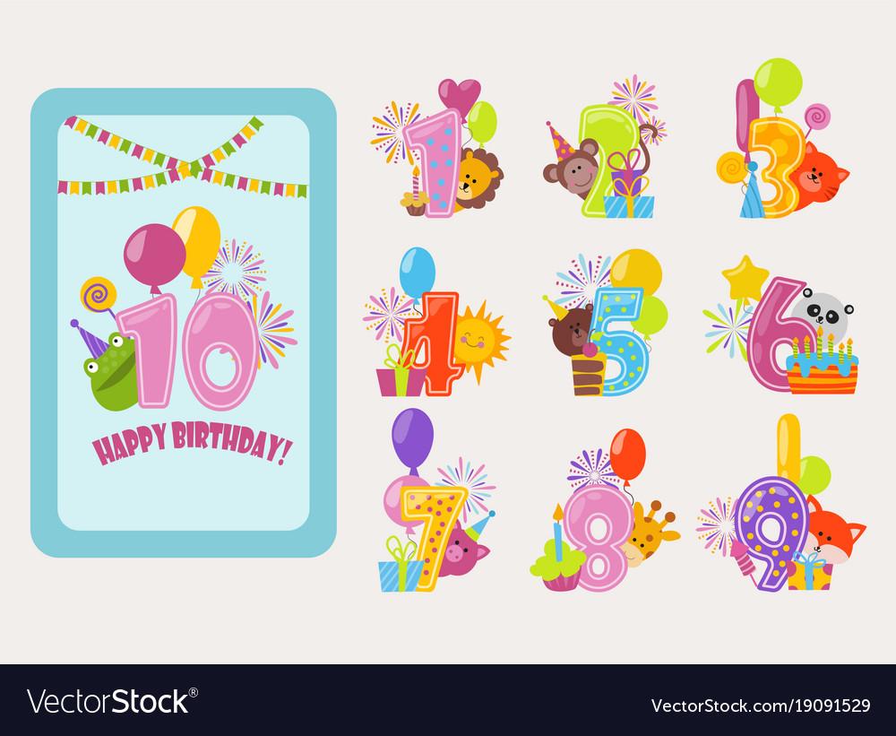 Birthday numbers cartoon anniversary birth