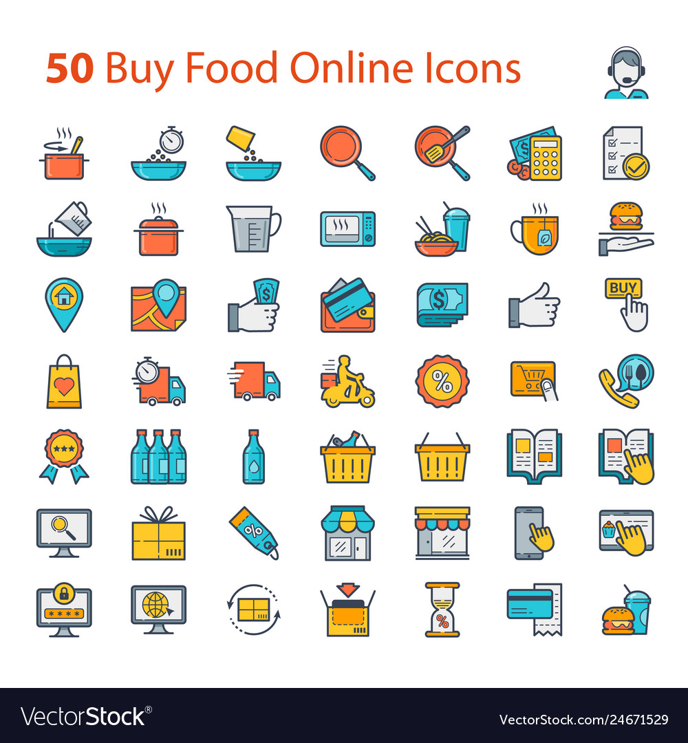 Buy food online icons