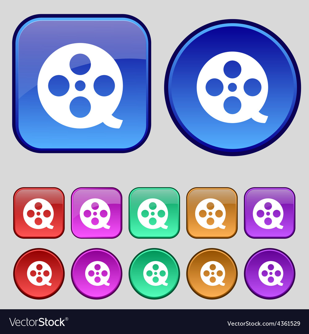 Film icon sign A set of twelve vintage buttons for vector image