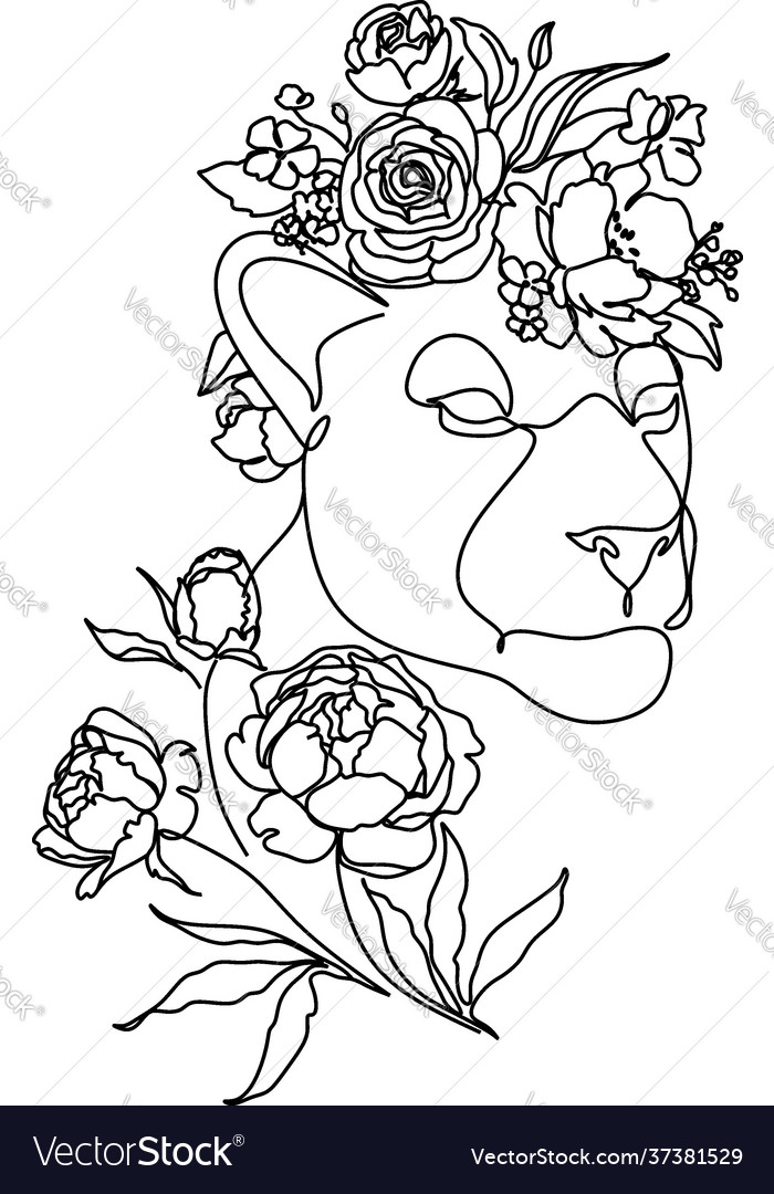 Head a lion in a flower ornament