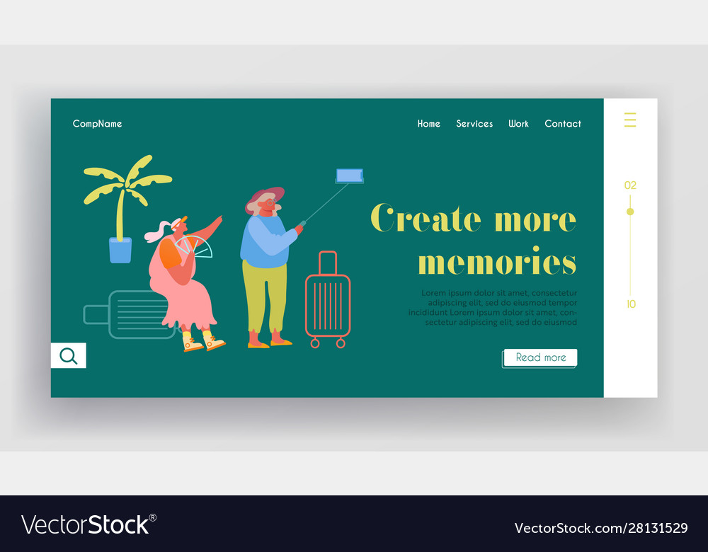 Mature tourists trip website landing page aged