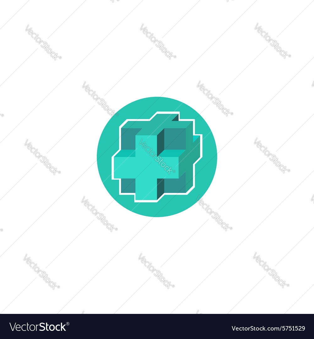 Mockup medical logo 3d blue cross sign hospital