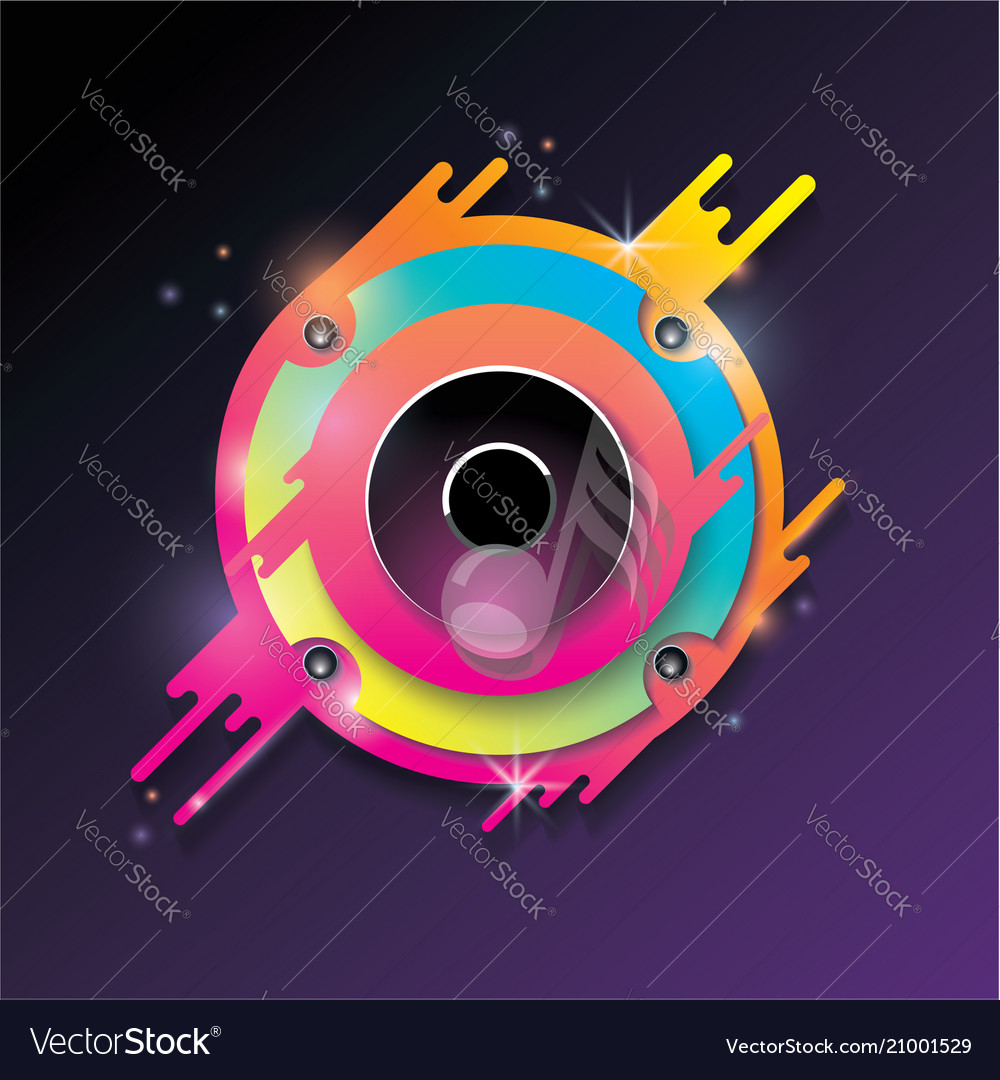 Music background with bright color audio speaker
