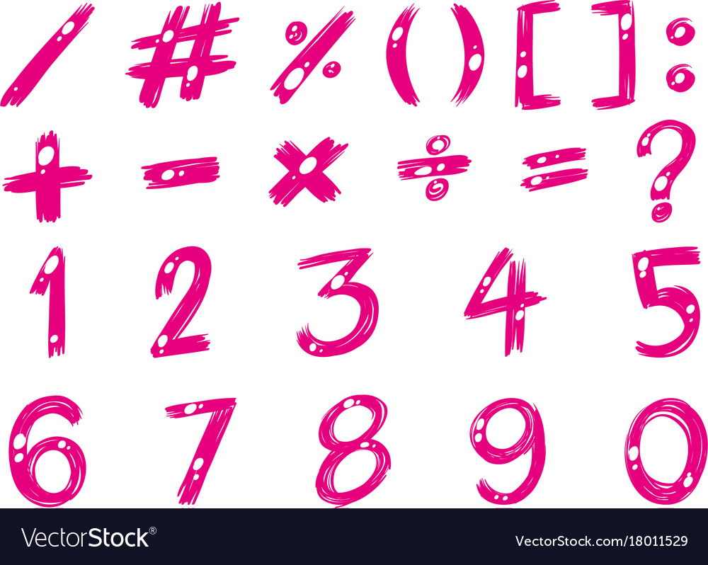 Numbers and signs in pink color Royalty Free Vector Image