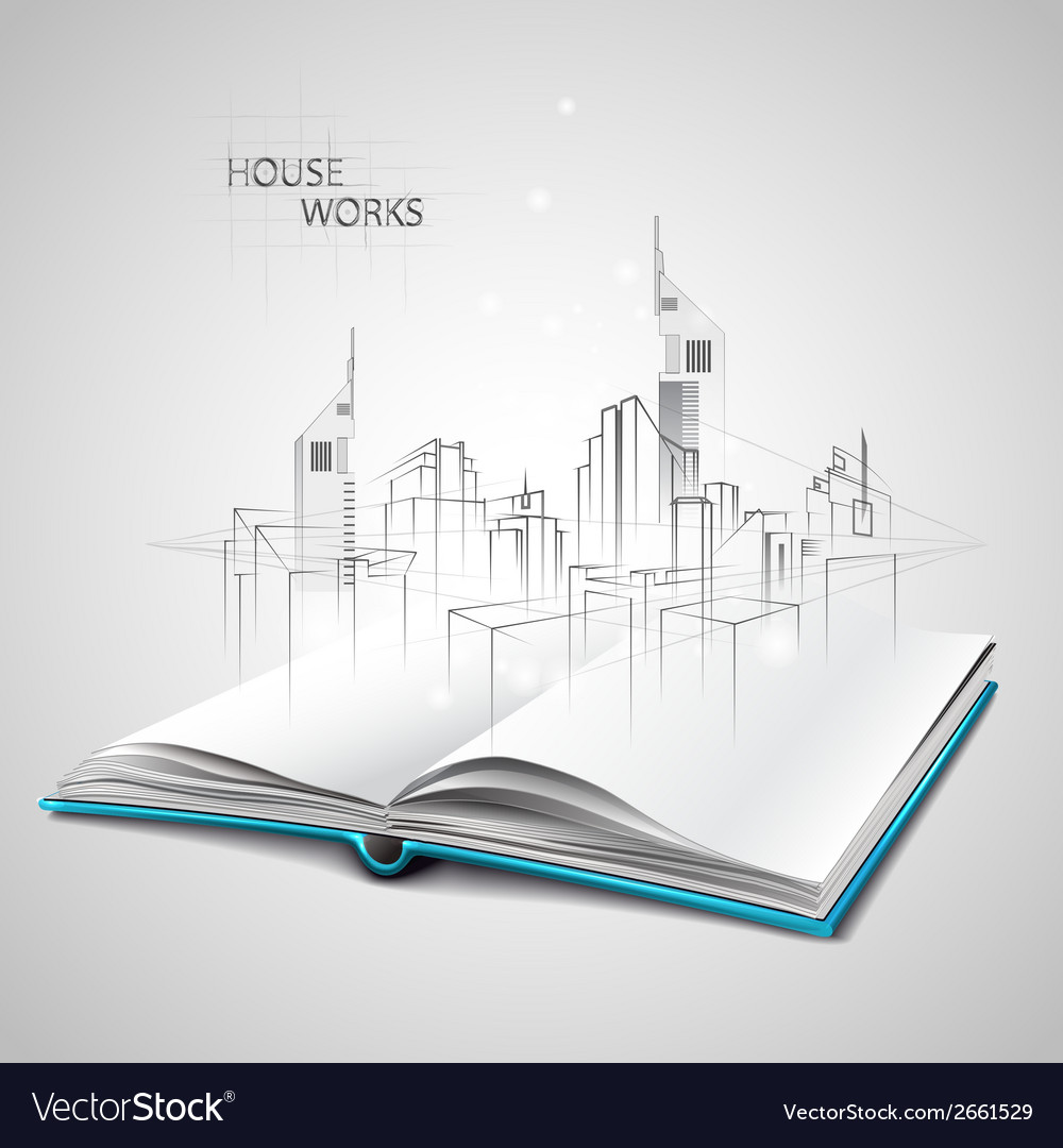 Opened Book And Drawing Building Sketches Vector Image