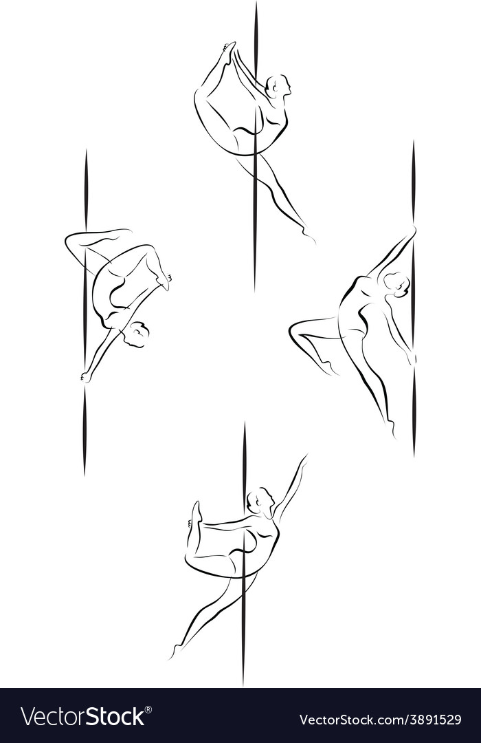 Outline pole dancers vector image