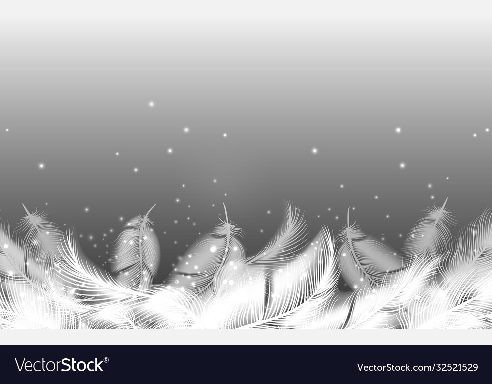 Realistic falling feathers background