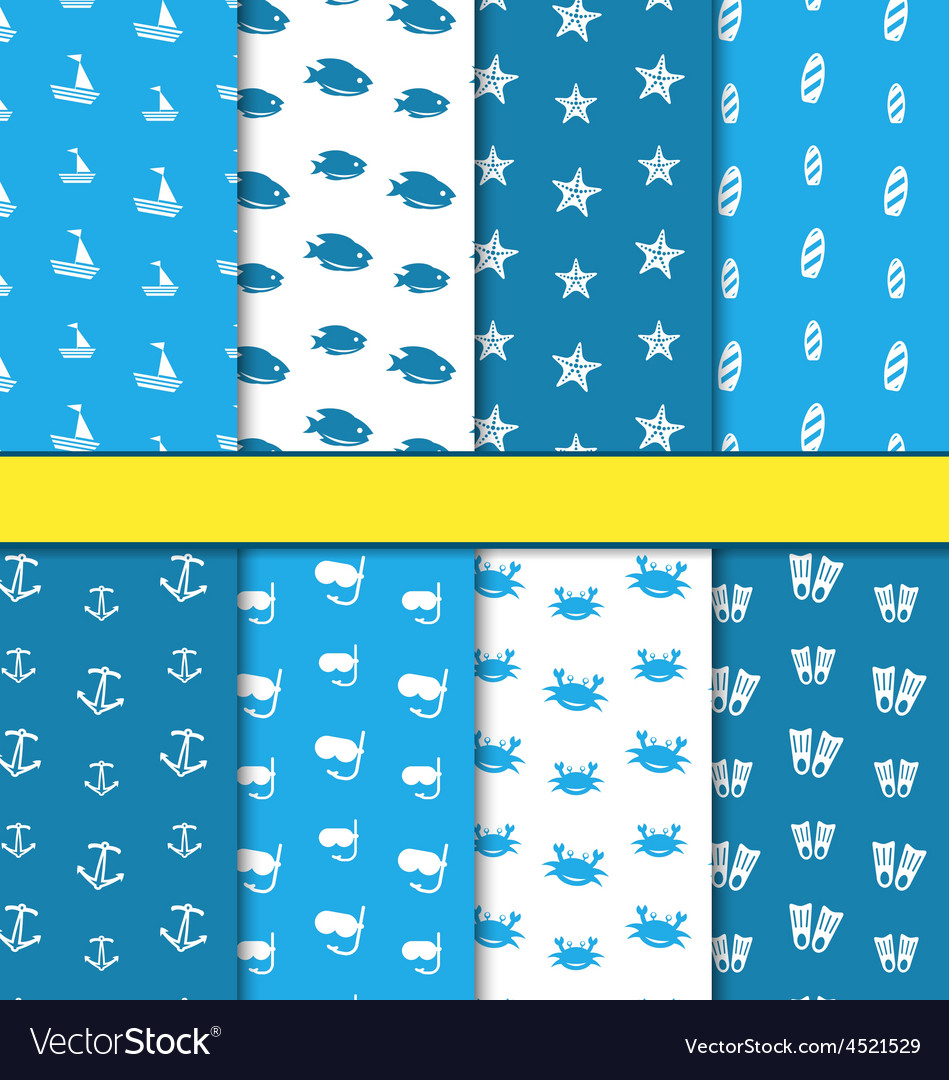 Set Seamless Pattern with Nautical Elements