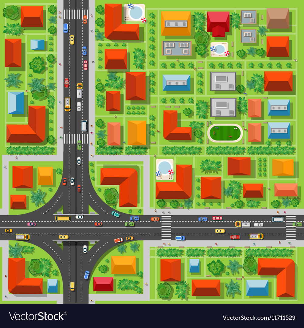 Top view of a highway junction vector image