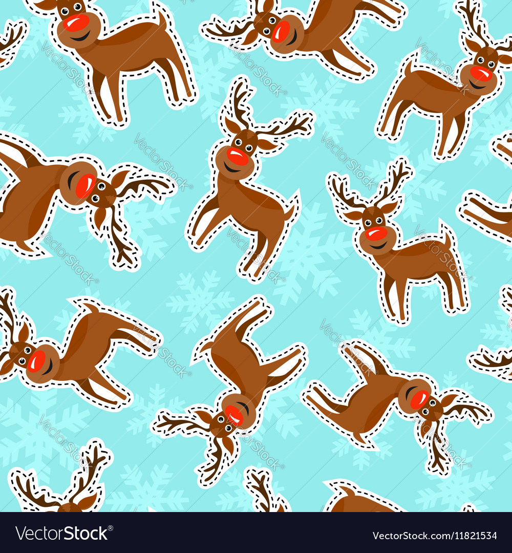 Christmas reindeer patch icon pattern background