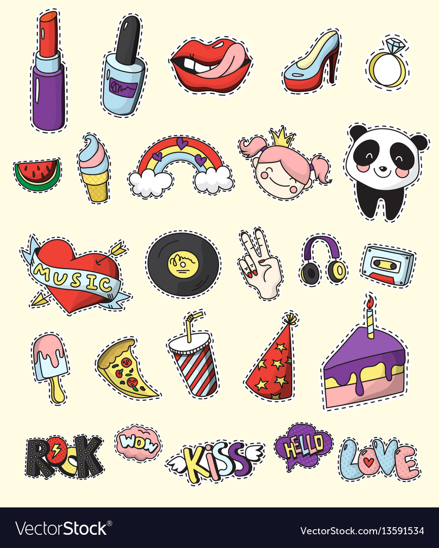 Colored fashion patch badge set