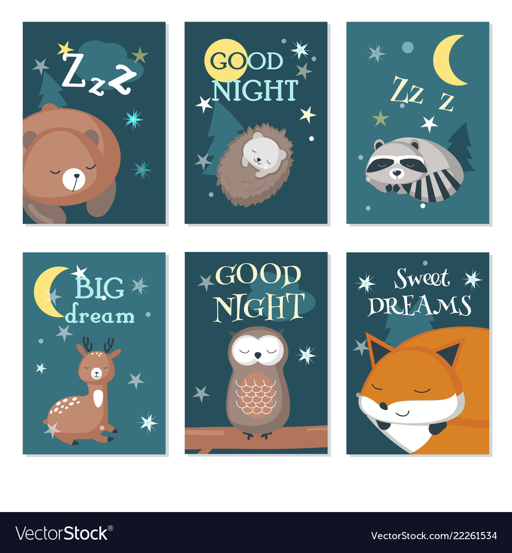 Cute sleeping wild animals card set