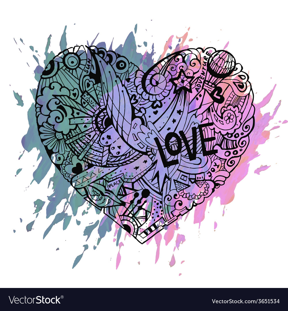 Doodle colorful heart with paint splashes