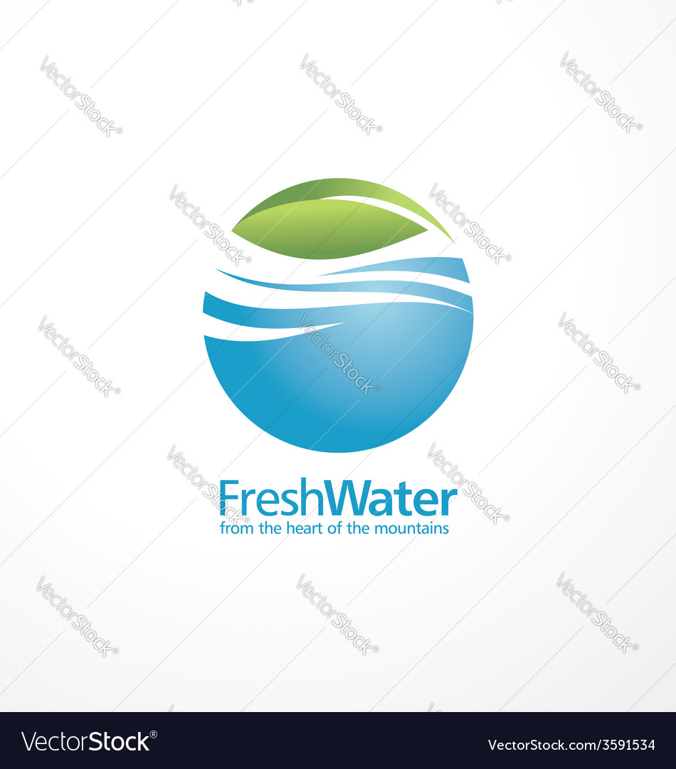 Fresh water and leaf creative logo design template