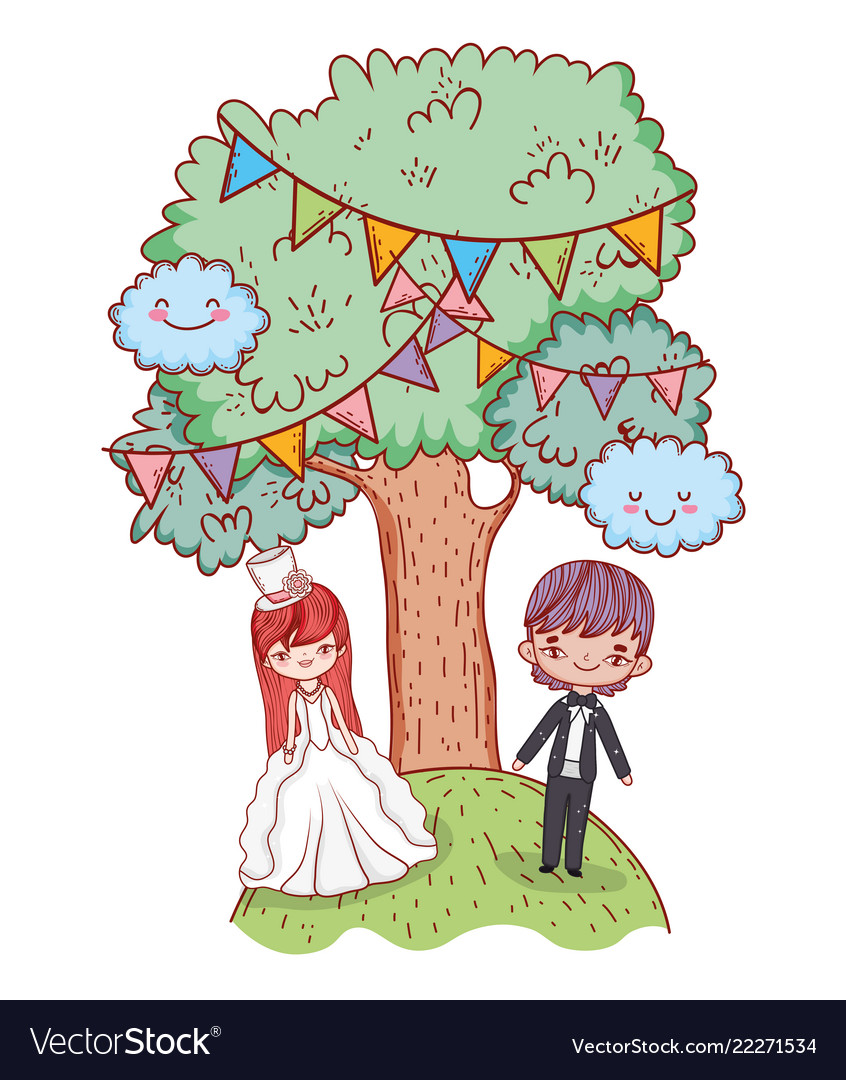Girl and boy marriage with kawaii clouds and trees