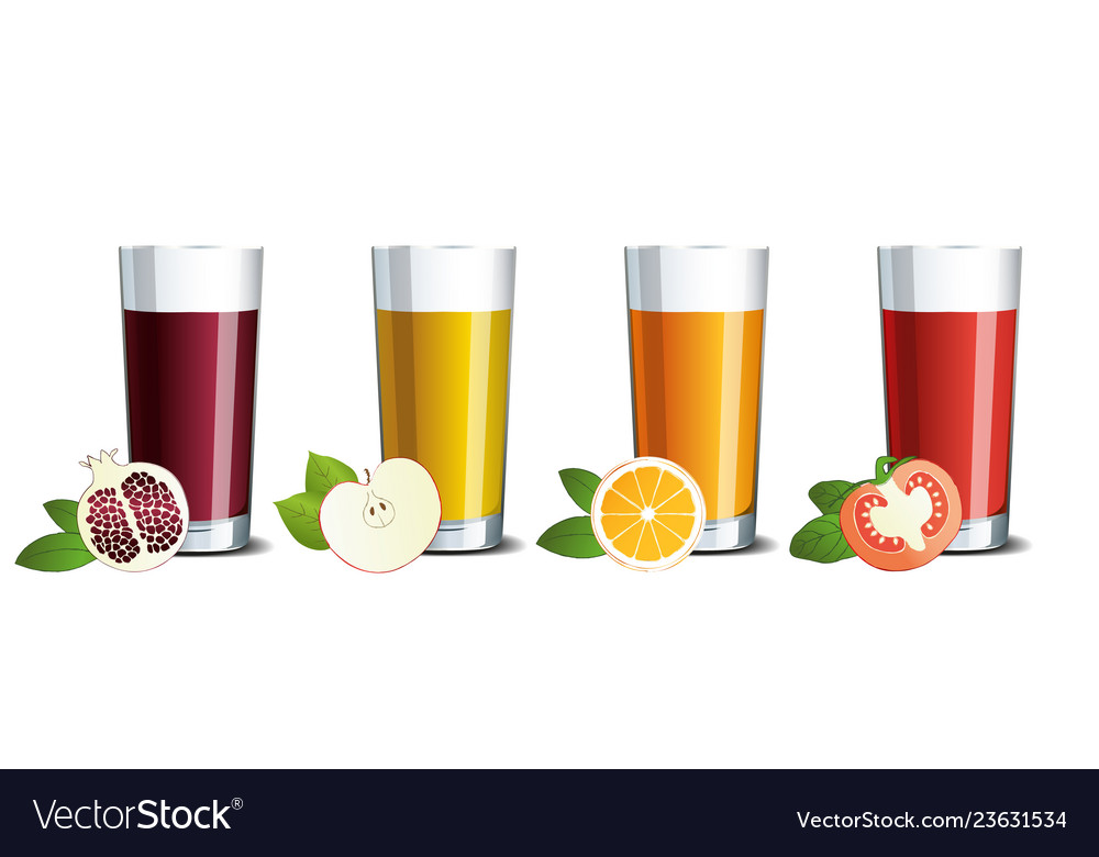 Glass glasses with pomegranate apple orange and