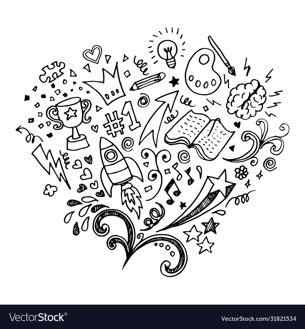 Hand drawn isolated creative doodle art on a