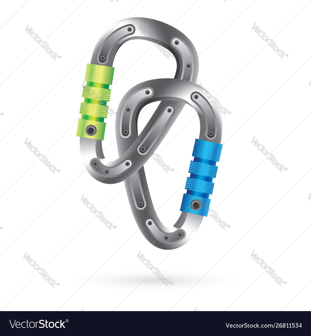 Icon with two steel carabines isolated on white