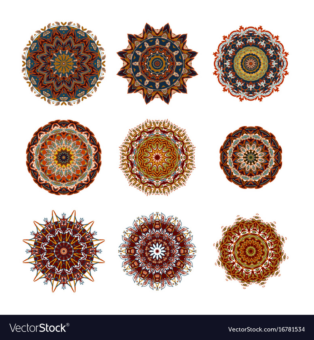 Mandalas collection round ornament pattern