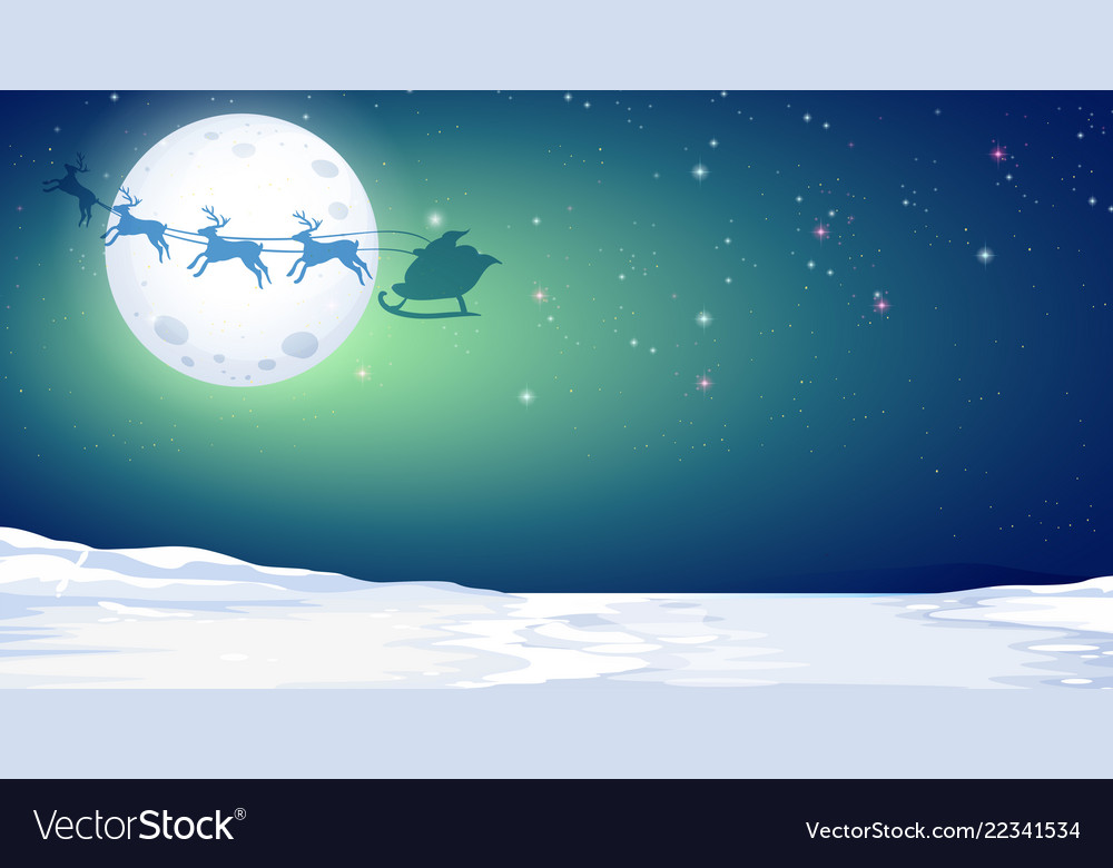 Silhouette deer and santa in winter night